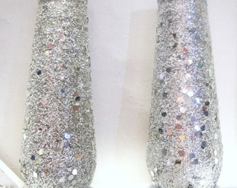 Vintage Silver Sparkle Tall Candles 8""