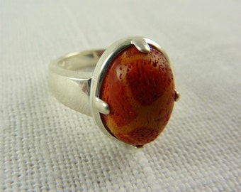 Vintage Sterling Red Sponge Coral Ring Size 6.75