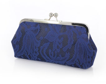 Black and Navy Lily Lace Bridal Clutch 8-inches | Bridesmaid Clutch