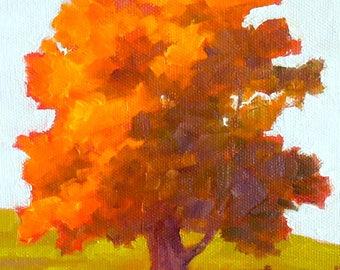 Landscape Original Painting, Autumn Tree, 6x8 Oil on Canvas Panel