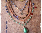 Dream Big, Multiple Strand Rustic Gemstone Necklace, Boho Style Necklace, Bohemian Jewelry, BohoStyleMe, Kaye Kraus