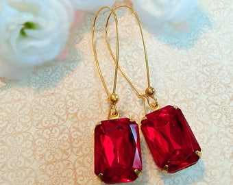 Red Ruby Earrings - Art Deco - July Birthstone - Jewelry Gift - DORSET Ruby