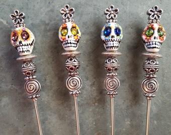 Grave Digger II Handpainted Sugar Skulls, Sturdy Bloody Mary Spikes, Pint Glass Garnish Picks, Appetizer Skewers, Food Grade Stainless Steel
