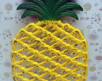 Cast Iron Pineapple Trivet Yellow Green Shabby Chic House Warming Gift Kitchen Decor
