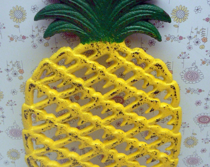 Cast Iron Pineapple Trivet Yellow Green Shabby Chic House Warming Gift Kitchen Decor