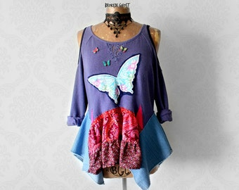Purple Gypsy Shirt Layered Boho Top Lace Sweatshirt Butterfly Clothing Lagenlook Tunic Boho Chic Clothes Coachella Loose Shirt Large 'SONIA'