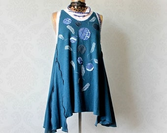 Bohemian Tank Top Artistic Art Clothes Flared Swing Shirt Applique Clothing Women's Painted Top Teal Long Shirt Ladies Boho Tunic L 'NADINE'