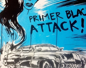 "Primer Black Attack-Blue Angel Edition 18"" x 23 3/4"" Silk Screen Print"
