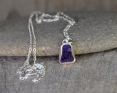 Raw Amethyst Necklace In Indigo, February Birthstone, Uncut Raw Amethyst Necklace, Amethyst Gift