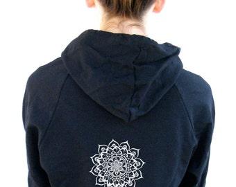 Womens Mandala Hoody Sweatshirt American Apparel California Fleece Pocket Pullover Hoodie -  XS, Small, Medium, Large, Extra Large, 2XL