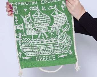 Vintage GREEK Woven Cotton Bag Souvenir Shoulder Bag Greek EPIROTIKI CRUISE Bag Market Bag