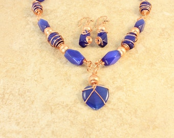 Blue Glass Beads with Copper Wire Wrapped Design Copper Beads Necklace and Earrings