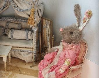 "OOAK Miniature Rabbit - ""Retta Lynn"" -  German Mohair Art Doll - 5-6"" Tall - 1:12 Dollhouse Scale"