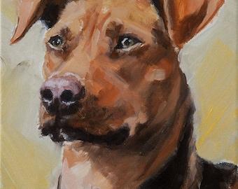 Red, Rust, Rhodesian Ridgeback Mixed, Puppy, Dog, Original Painting by Clair Hartmann