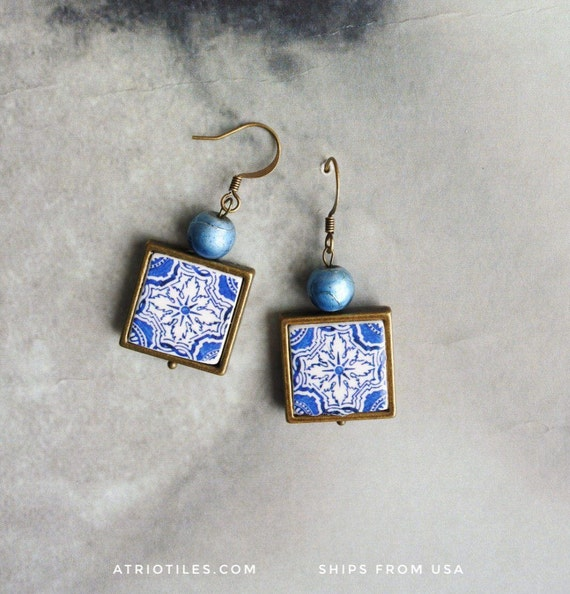 Earrings Portugal Tile Azulejo Portuguese BLUE Antique Metal Framed OVAR   (see photo)  Gift Boxed - reversible - ships from USA 1528