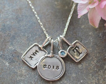 Stamped Silver Initial Charm Necklace.  Trinket Initial Necklace with stamped charms in Silver.  Personalized initial necklace.