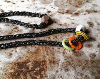 Ra Fiber Art Minimalist Necklace with Artisan Pitfired Beads, Artisan Lampwork,  and Hand Knit Waxed Cotton Cord