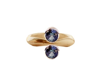 Reflections of Love ring with Montana Sapphire gemstone and Reclaimed 14K Gold
