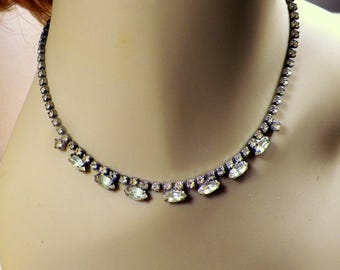 "Vintage Clear Rhinestone Choker 15"" Adjustable Necklace w/Topaz, Crystal (?) Stones, Estate Costume Jewelry,Solid Backing"