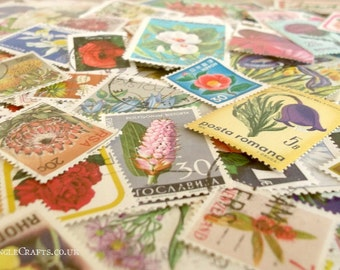 Flowers, postage stamps | floral world modern + vintage random mixed used stamps | card craft topper, collage, upcycle, decoupage, collect