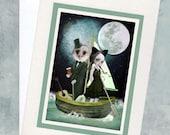 Nursery Rhyme Greeting Card - Keepsake Card - Card & Envelope - The Owl And The Pussycat