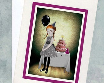 Gothic Birthday Card - Greeting Card  - Goth Girl Birthday Party - I'ts My Party & I'll Cry If I Want To