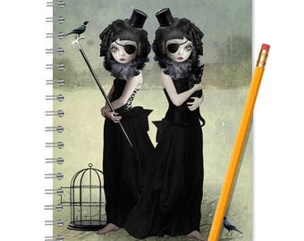 Sisters Notebook - Handmade Journal - Goth Girls - LINED OR BLANK pages, You Choose