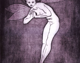 "Etching print - ""Fairy"" - Simple female nude, in fairy form. Original art by Nancy Farmer, UK. purple-black monochrome print."