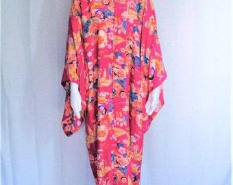 20s 30s Vintage Silk Kimono Japanese Robe Raspberry Pink Multi Color Floral Handmade Hand Sewn Flapper Boudoir Lingerie Dressing Gown