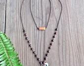 Turquoise and Jasper Double Layer Boho Necklace with Orange Bead
