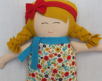 Handmade doll, baby doll, rag doll, soft doll, cloth doll, gift for a girl, christmas gift, yellow hair, floral dress, colorful doll, unique