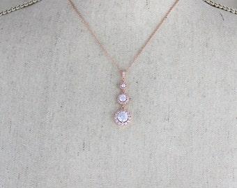 Rose Gold Bridal necklace, Wedding jewelry, Crystal Wedding necklace, Bridesmaid necklace, Rose Gold Halo necklace, Pendant necklace