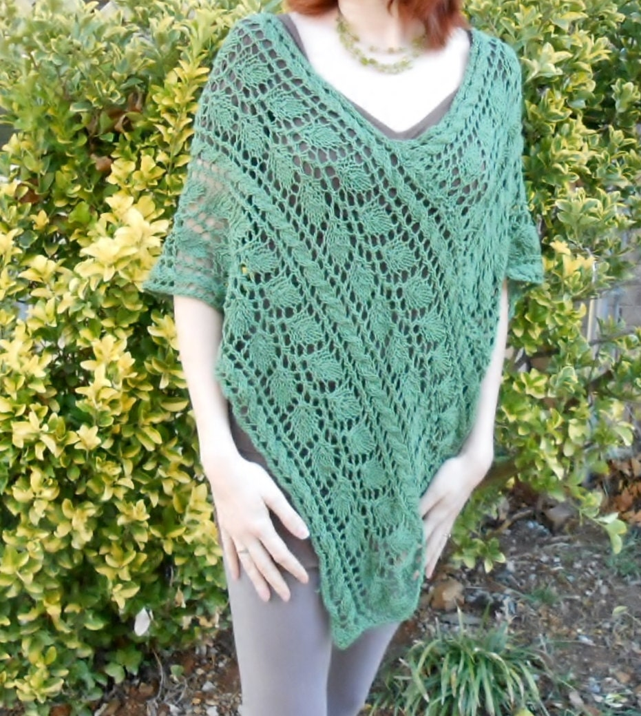 knit poncho pattern leaf greenery lace poncho pattern v-neck