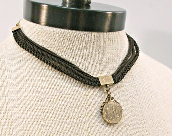 Victorian Locket Necklace, Antique Gold Mourning Hair Necklace Locket, Monogram CH Watch Fob Necklace, Gold Filled Estate Locket Jewelry