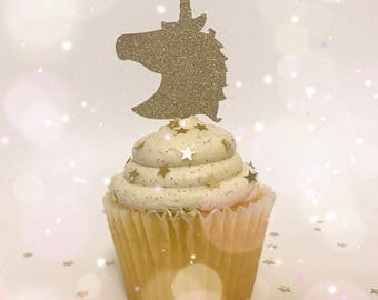 Glitter Unicorn Cupcake Toppers| Unicorn Party| Gold Toppers| Glitter Toppers