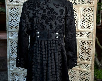 Black Brocade Victorian Coat