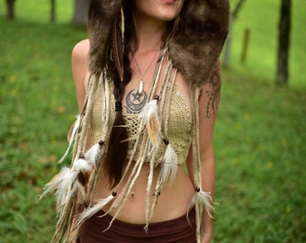 Felt Fur Hood-Warrior Tribal Hat-Primitive Head Wear-Feather Pixie Hood-Tribal Costume-Pixie Hat-Woodland Costume-Feather Head PieceOOAK