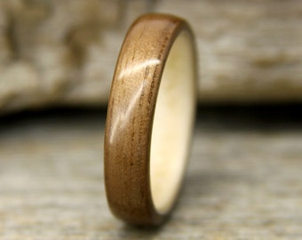 Wooden Ring - Walnut Bentwood Ring Lined With Sycamore - Handcrafted Wood Wedding Ring - Custom Made