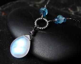 Moonstone Necklace, London Blue Topaz, Apatite, Oxidized Sterling Silver - Seaspray by CircesHouse on Etsy