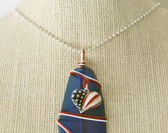 Sea Glass Pendant with Cobalt Blue Sea Glass and Red. White, and Blue Heart Charm...for Summer's Patriotic Holidays