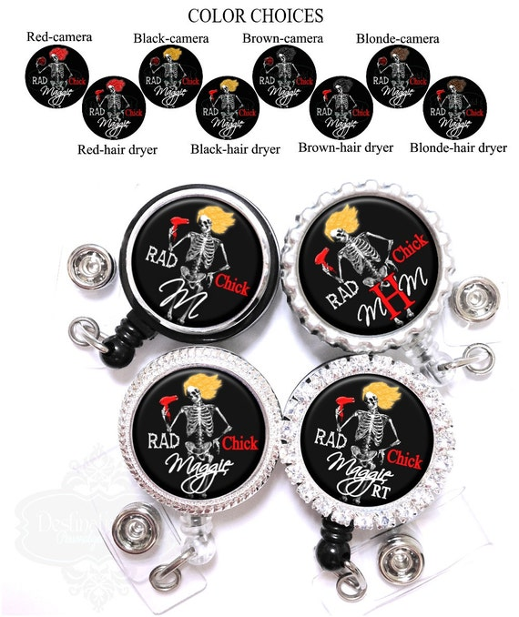 Lanyard Badge Reel - Rad Chick Female Skeleton Xray Retractable ID Holder in 4 Colors Personalized with Name , Monogram, Occupation (A046)