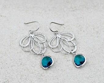Silver Chandelier Earrings, Bohemian Wedding, Teal Blue
