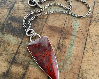 Silver Poppy Jasper Pendant Necklace with Toggle - adjustable length - Red