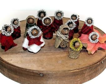 Acorn People, Burr Oak Acorns, Fairy Folk, Woodland People, Tiny People, Eskimo Innuit, Dressed for Winter, Tree People, Set of Small People