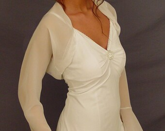 Chiffon bridal bolero jacket wedding shrug bell sleeve period wedding jacket CBA202 AVAILABLE IN ivory and 6 other colors. Small - XXL