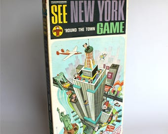 Vintage See New York Board Game Round the Town Transogram 1964 New York City Memorabilia Map Guide