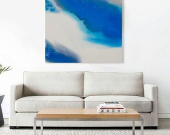 "Large Blue Watercolor Canvas Abstract Painting, blue purple grey 43x55"" ""Windstorm II"" mid century inspired, contemporary modern minimal art"