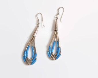 Vintage 70s Beaded EARRINGS / 1970s Sterling Silver & Turquoise Delicate Drop Pierced Earrings