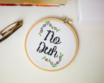 No Duh cross stitch pattern