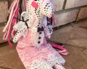 Handmade plush pony. Button jointed arms. Yarn mane and Tail. Stuffed horse doll with Lace dress